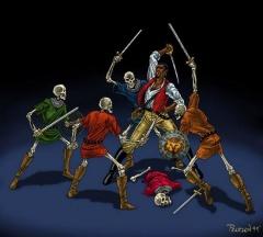 Cyrus contre des squelettes
