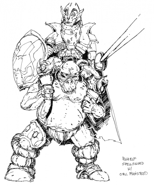 High Elf Spellsword with Orc Mansteed