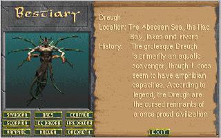 Bestiaire dans une version préliminaire du jeu (Retiré par la suite)