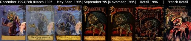 Évolution de la boite de Daggerfall pendant le développement