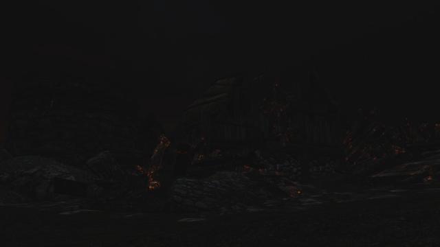Ruines d'Helgen après le passage d'Alduin